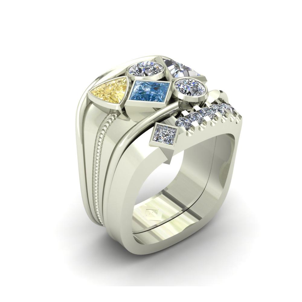UNIQUE COLORED DIAMOND CUSTOM GENTS RING