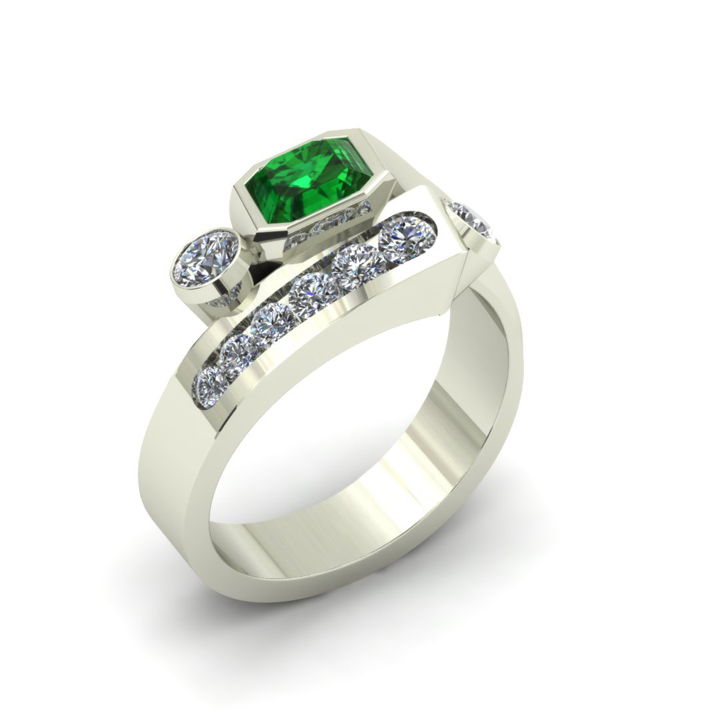 GENTS EMERALD CUSTOM RING