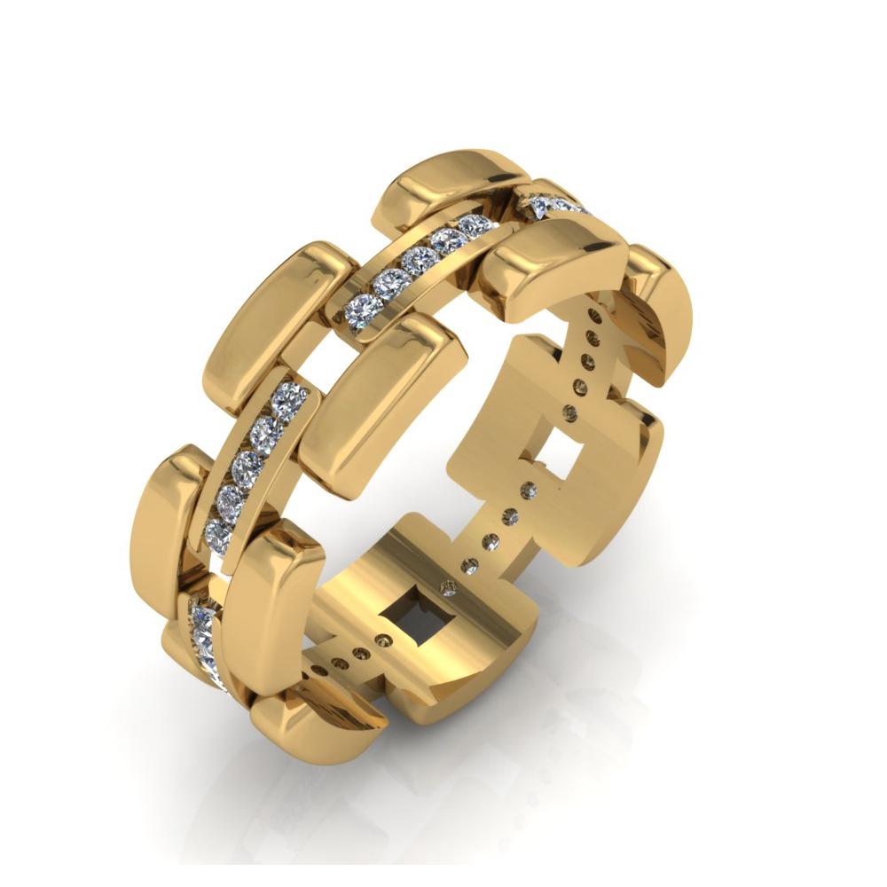 CHAIN LINK GENTS CUSTOM DIAMOND RING