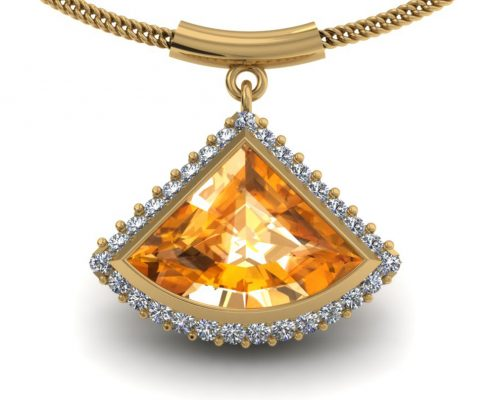 UNIQUE CITRINE HALO PENDANT GP-17