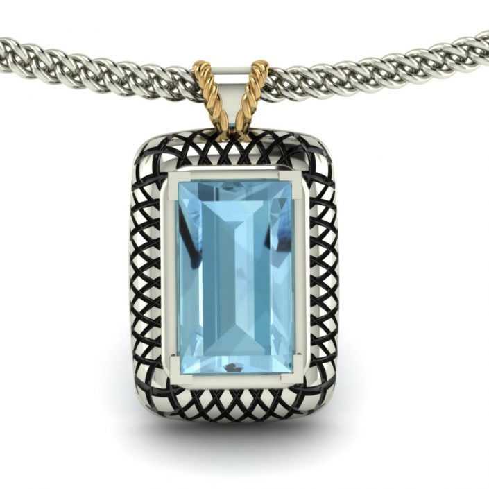 BLUE TOPAZ STERLING SILVER PENDANT GP-16