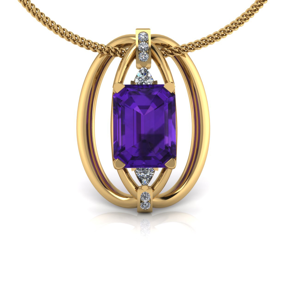 GOLD AND AMETHYST PENDANT GP-36