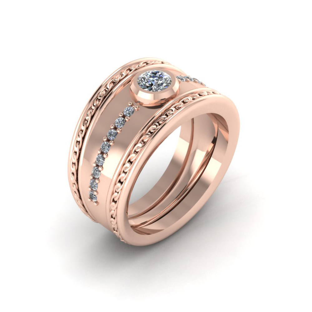 WIDE ROSE GOLD ENGAGEMENT RING