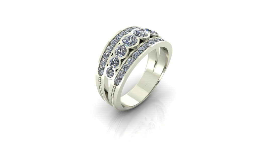 PARTIAL BEZEL WIDE WEDDING RING
