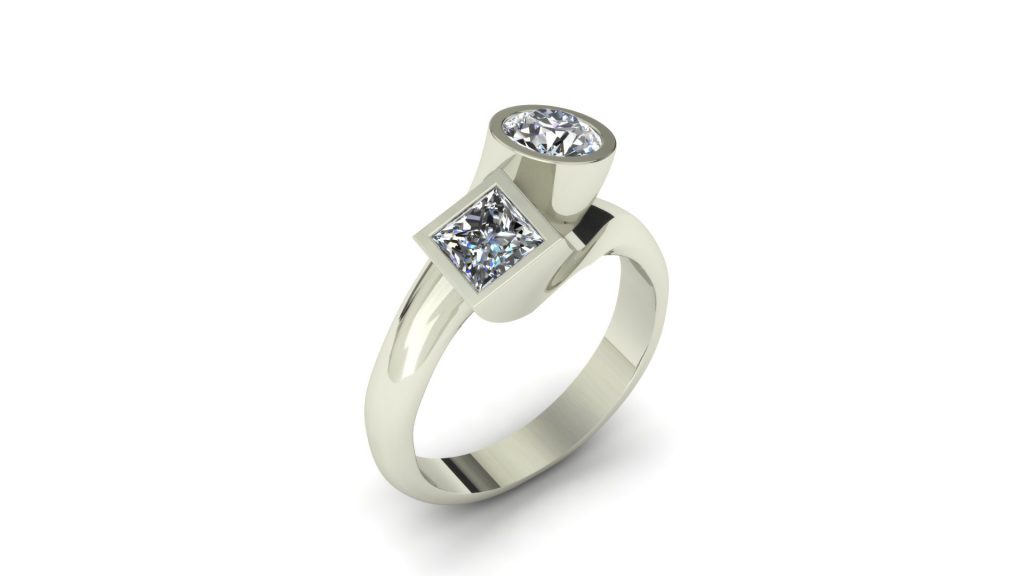MODERN TWO STONE DIAMOND RING
