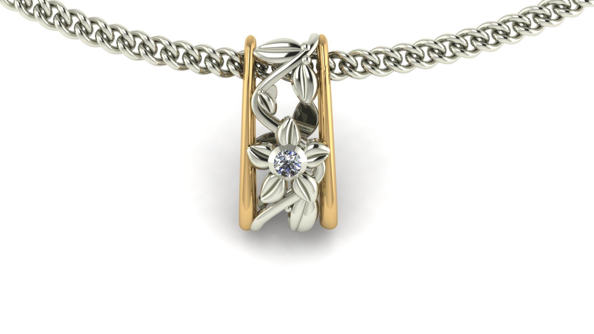FLORAL VINE DIAMOND PENDANT