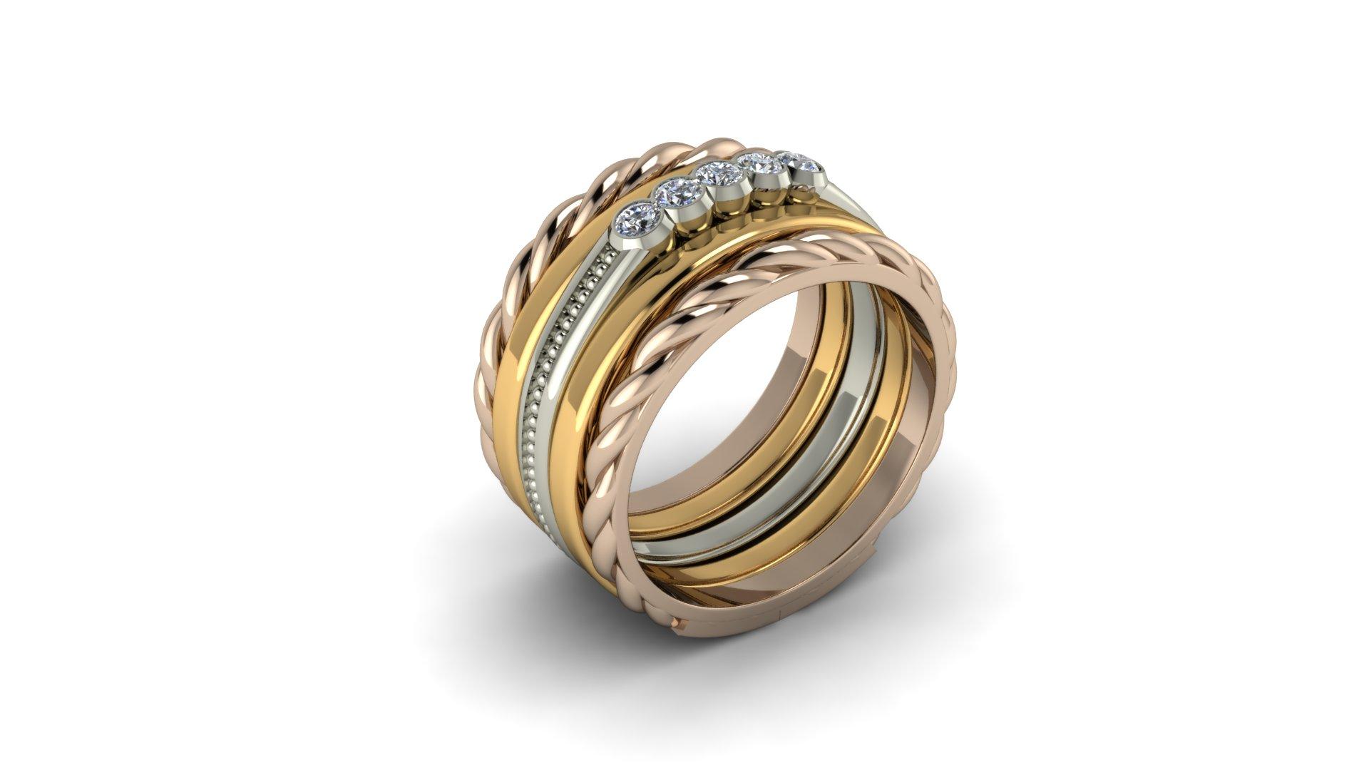 WIDE TRI COLOR DIAMOND RING