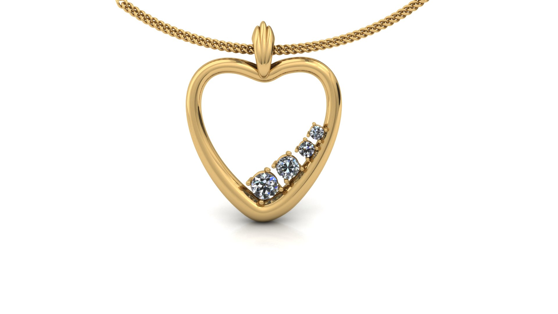 DIAMOND HEART SHAPED PENDANT