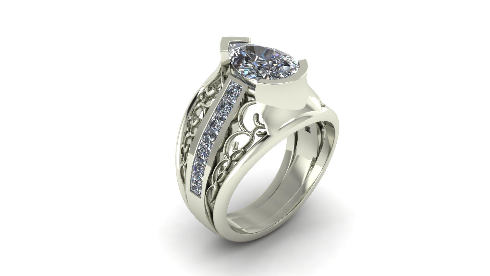 FILIGREE PEAR DIAMOND RING