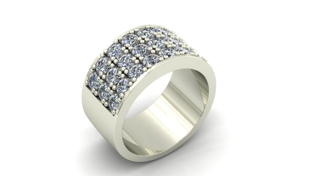3 ROW WIDE DIAMOND RING