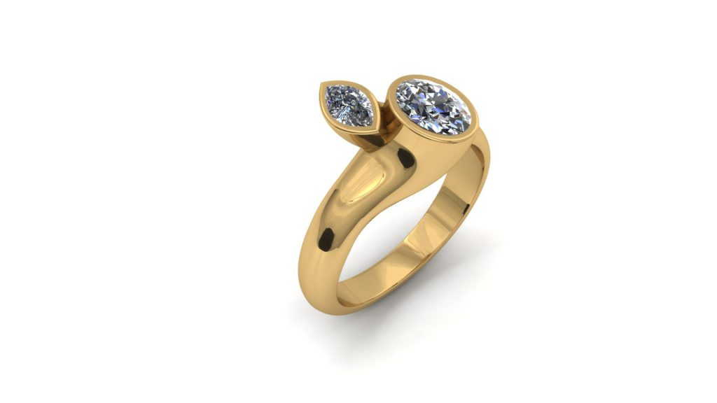 TWO STONE YELLOW GOLD RING