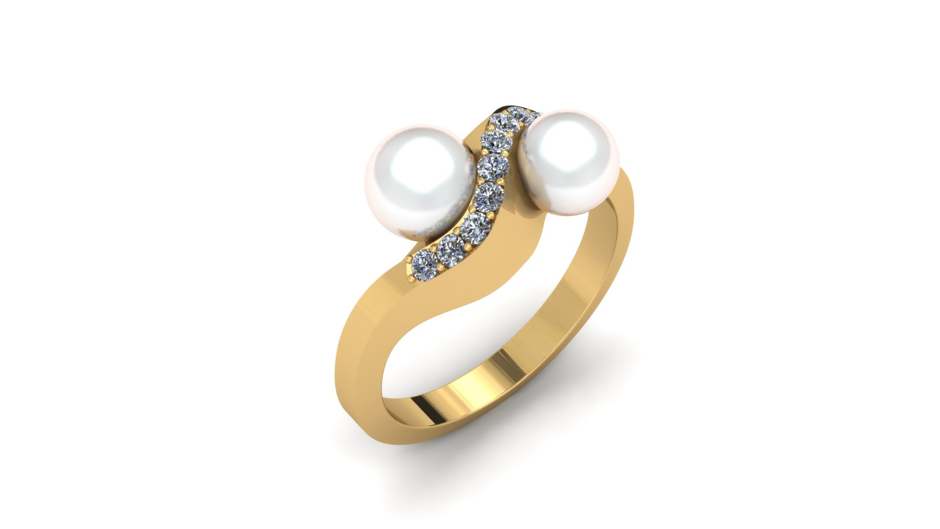 PEARL AND DIAMOND CURVED RING