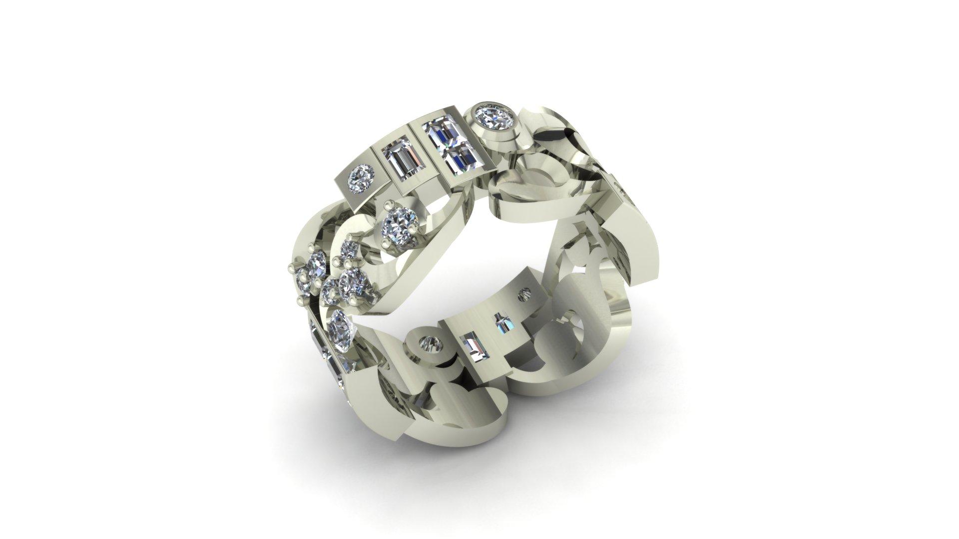 ARTSY WIDE WEDDING RING