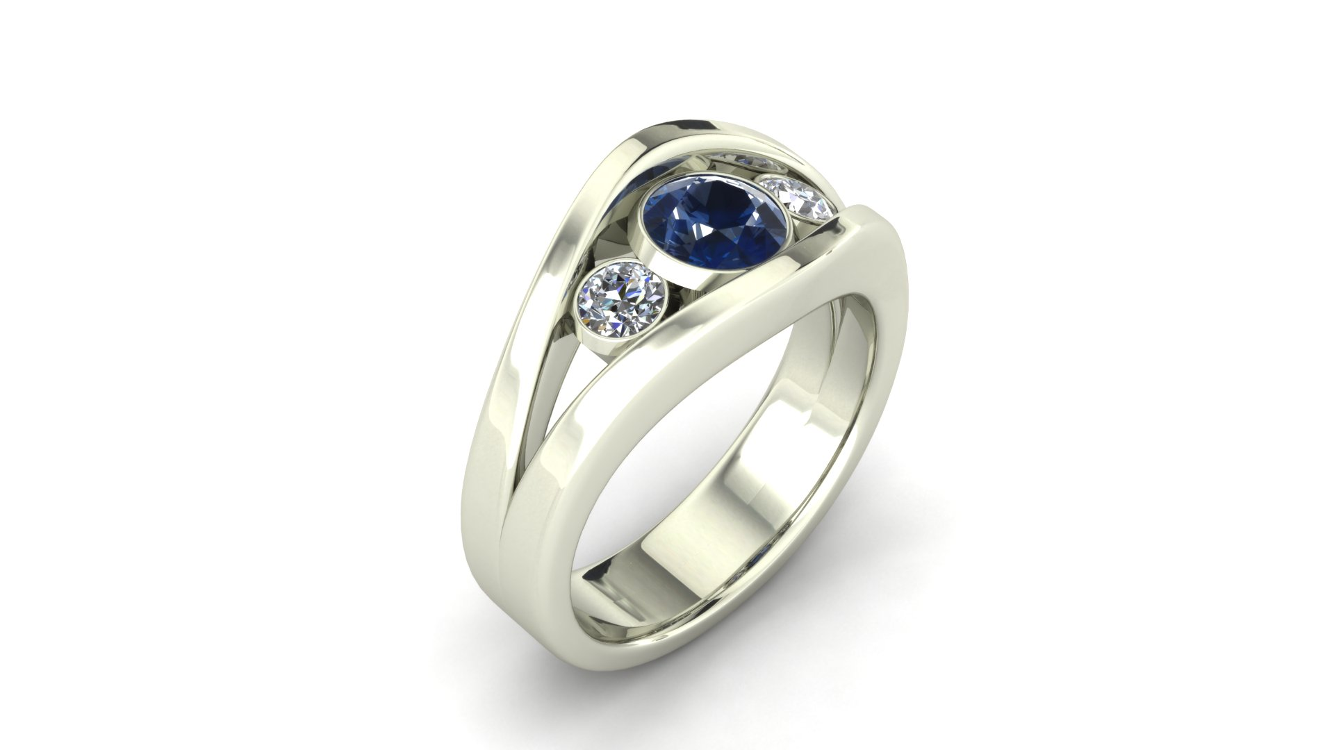 3-STONE SAPPHIRE AND DIAMOND RING