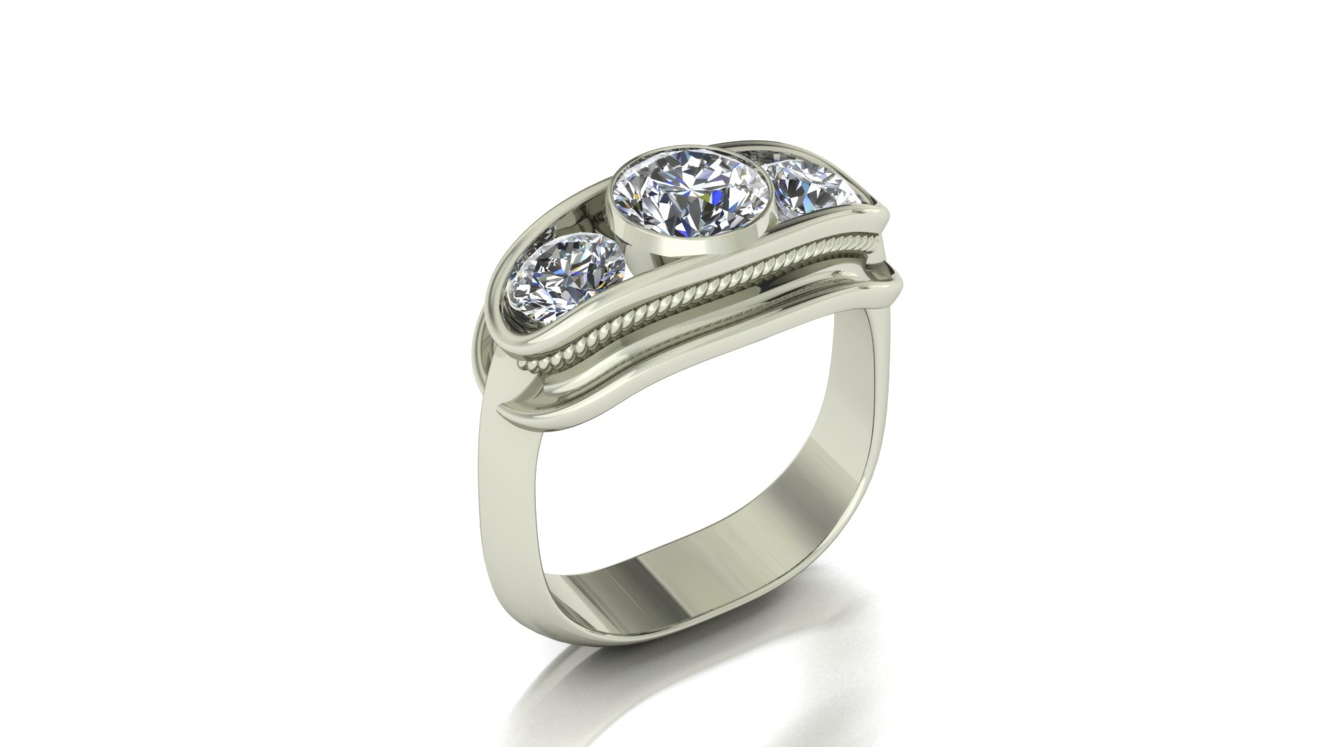FUNKY 3-STONE RING