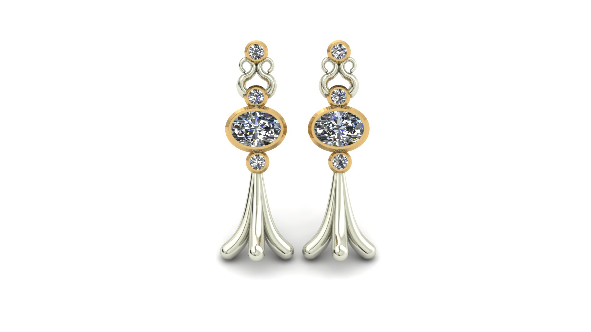 UNIQUE OVAL DIAMOND EARRINGS