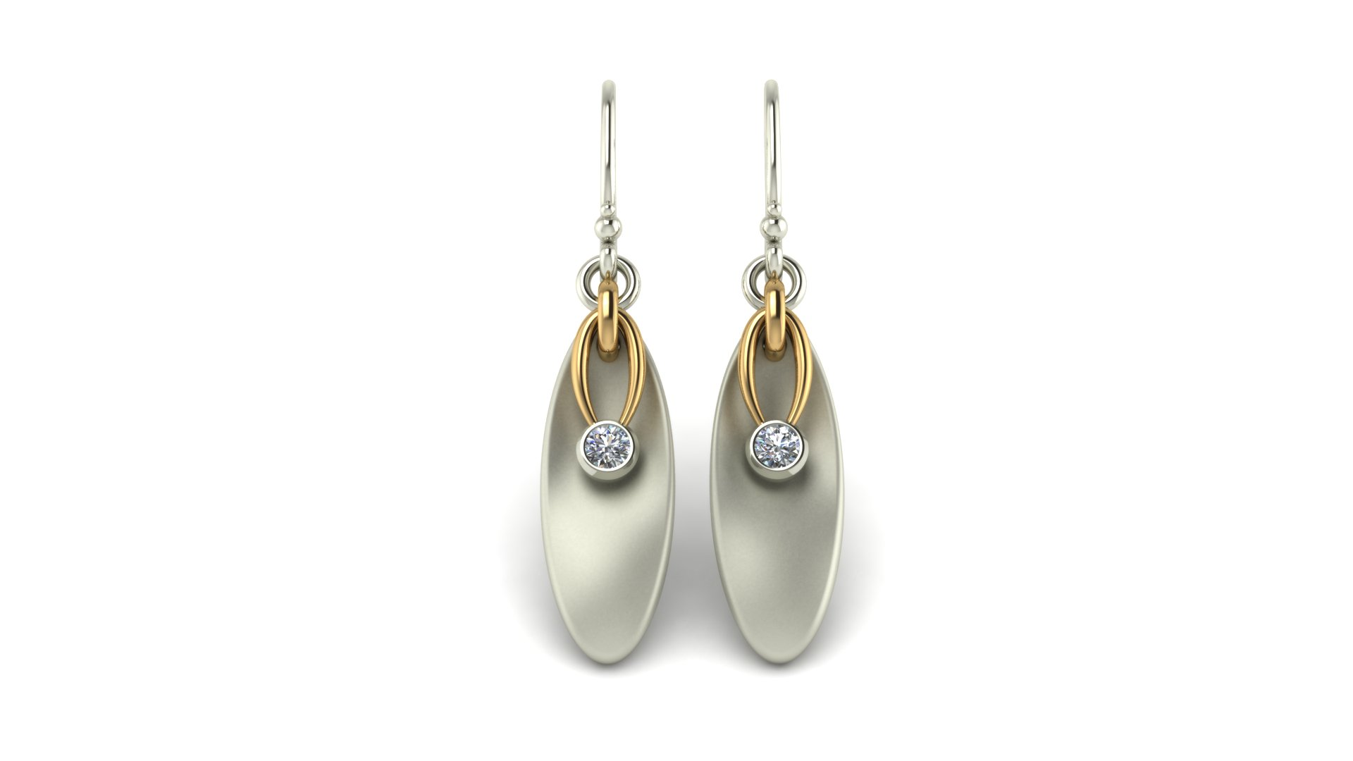 OVAL 2-TONE DROP EARRINGS