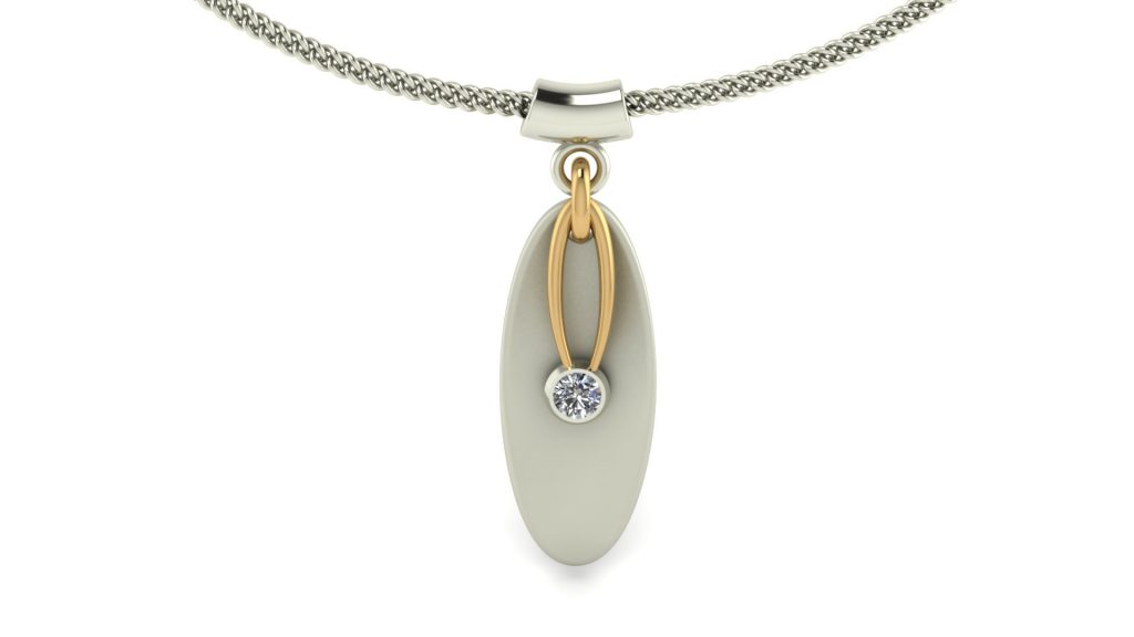 MODERN OVAL DIAMOND PENDANT