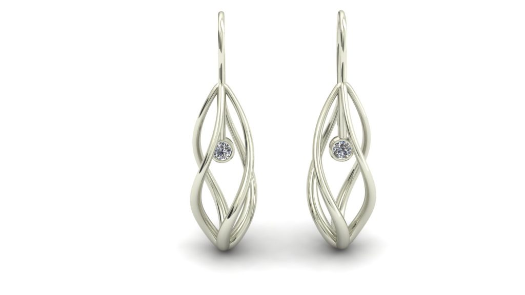 DIAMOND TWIST DANGLE EARRINGS