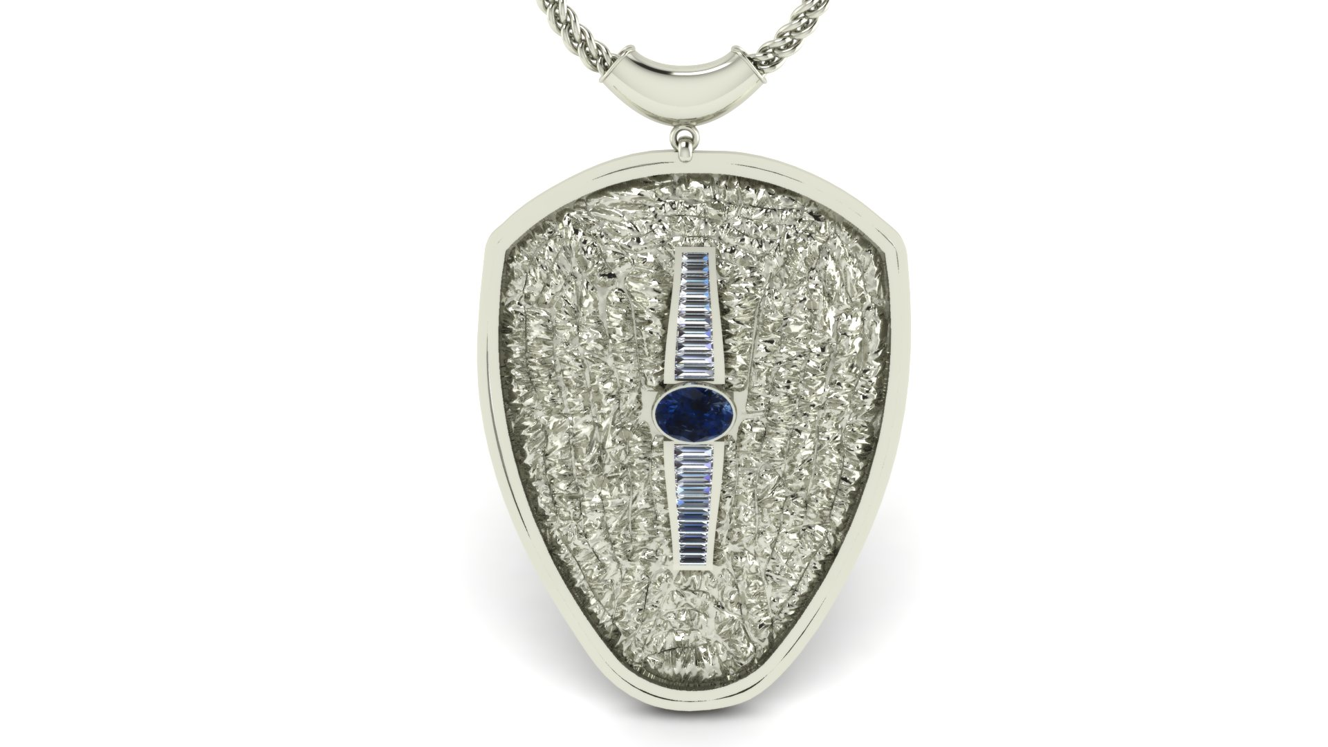 DIAMOND AND SAPPHIRE SHIELD PENDANT