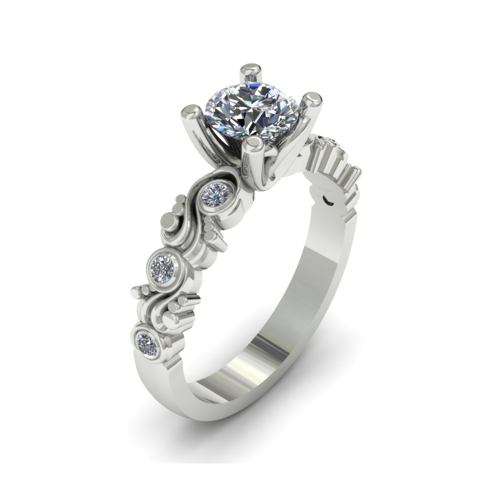 SWIRL PATTERN CUSTOM ENGAGEMENT RING