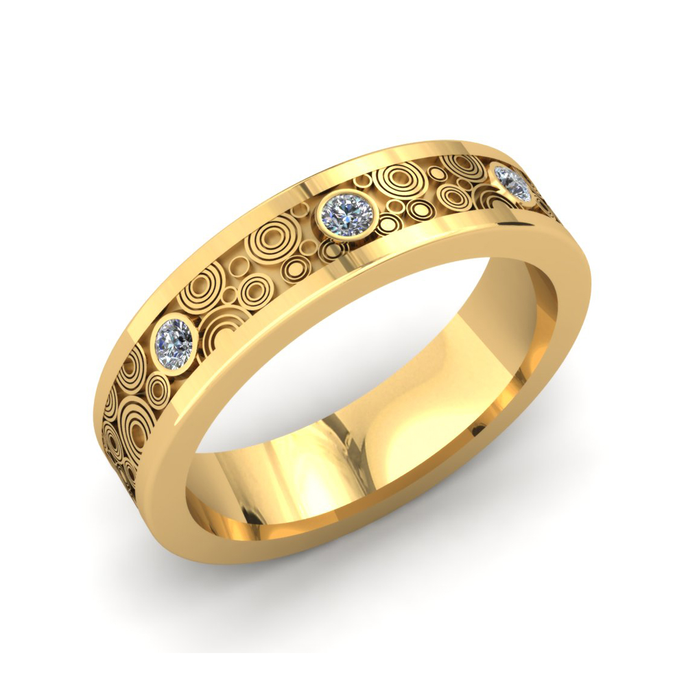 CIRCLE PATTERN CUSTOM WEDDING RING