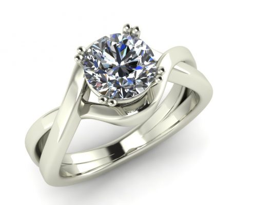 TWISTED WHITE GOLD CUSTOM ENGAGEMENT RING
