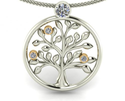 WHITE GOLD CUSTOM TREE PENDANT
