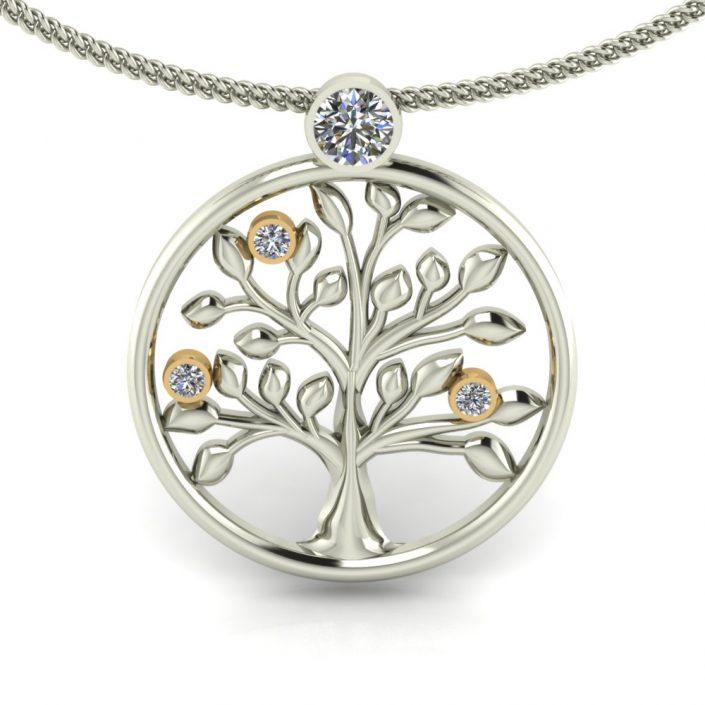 WHITE GOLD CUSTOM TREE PENDANT