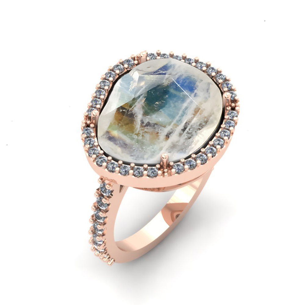 MOONSTONE ROSE GOLD CUSTOM ENGAGEMENT RING