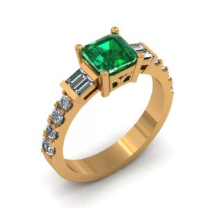CUSTOM CUSHION CUT EMERALD RING