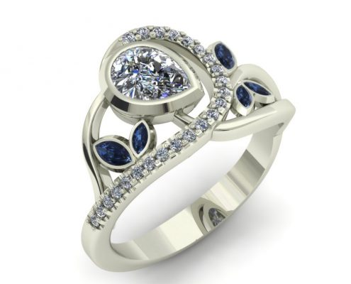 FLORAL DIAMOND AND SAPPHIRE CUSTOM RING