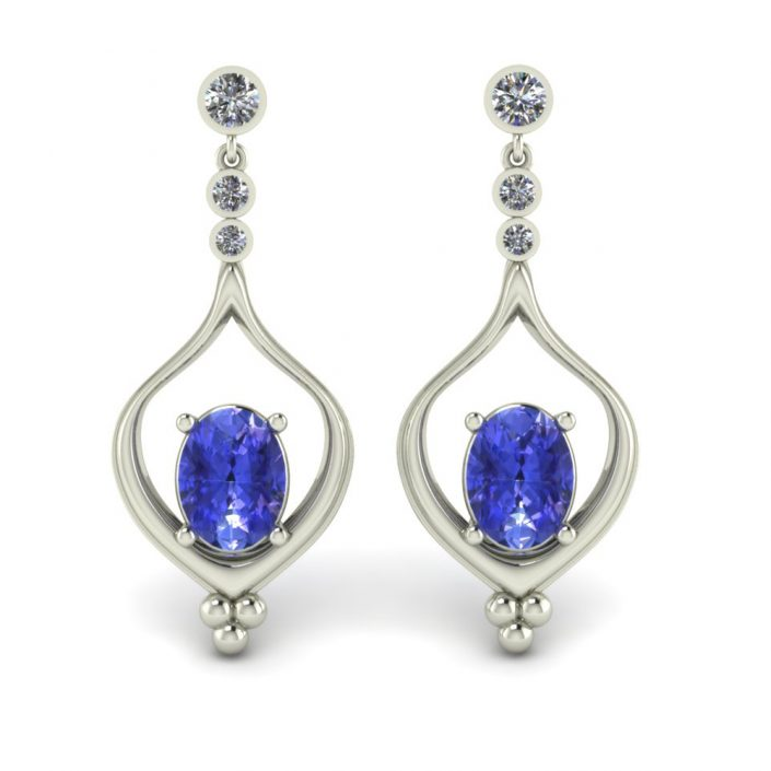 CUSTOM DROP EARRING WITH TANZANITE
