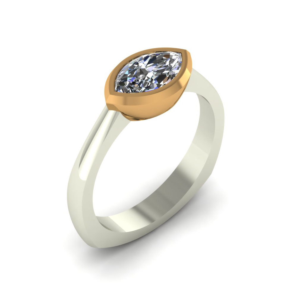 Sideways Two Tone Custom Marquise Ring The Goldsmiths Ltd