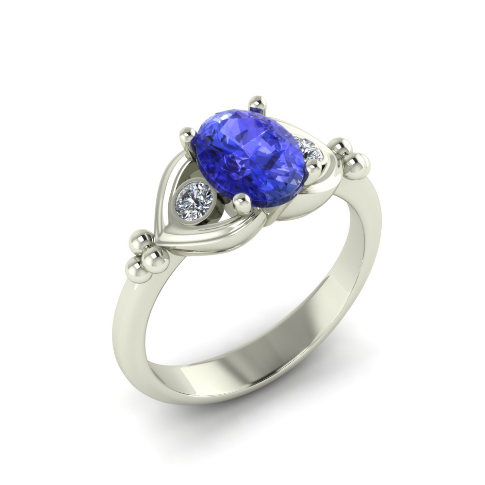WHITE GOLD CUSTOM TANZANITE RING