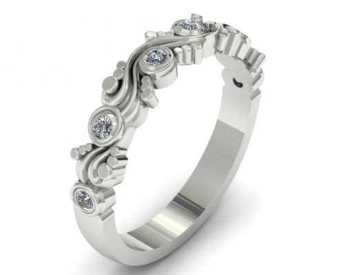 WHITE GOLD UNIQUE SWIRL CUSTOM WEDDING RING