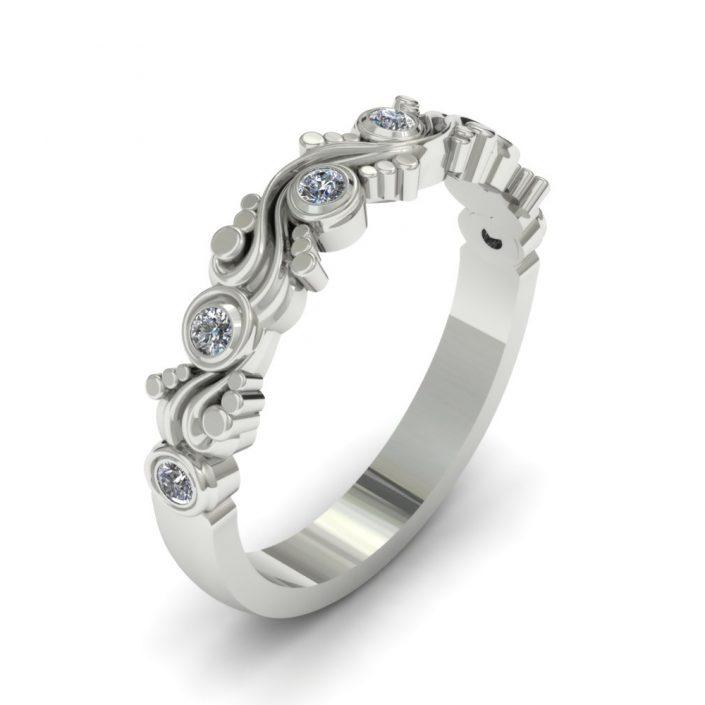 WHITE GOLD UNIQUE SWIRL CUSTOM WEDDING RING