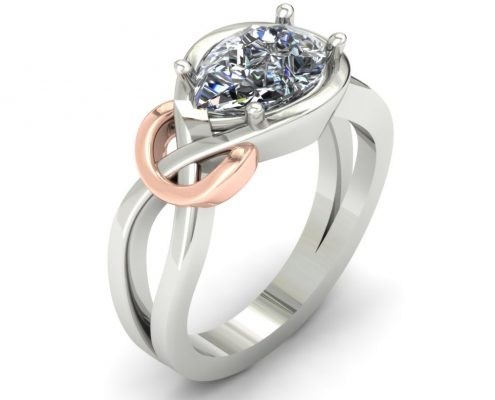 CUSTOM KNOT ENGAGEMENT RING WITH ROSE GOLD