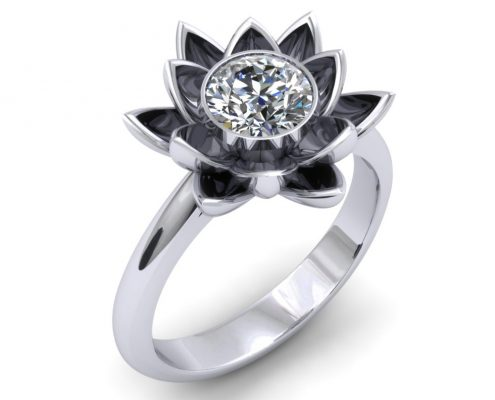 lotus flower custom engagement ring