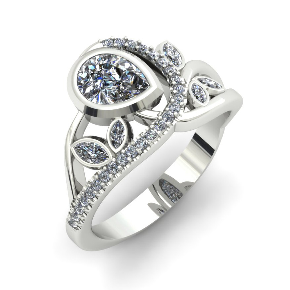 FLORAL WHITE GOLD CUSTOM ENGAGEMENT RING