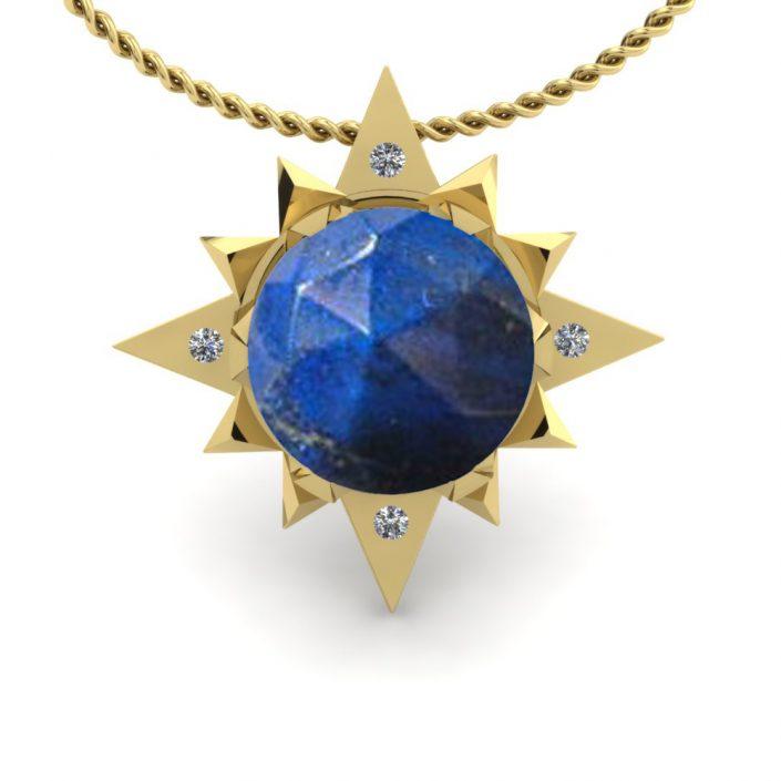 Lapis and diamond custom pendant