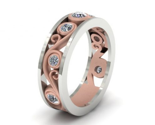 WHITE & ROSE GOLD SWIRL BAND CUSTOM RING