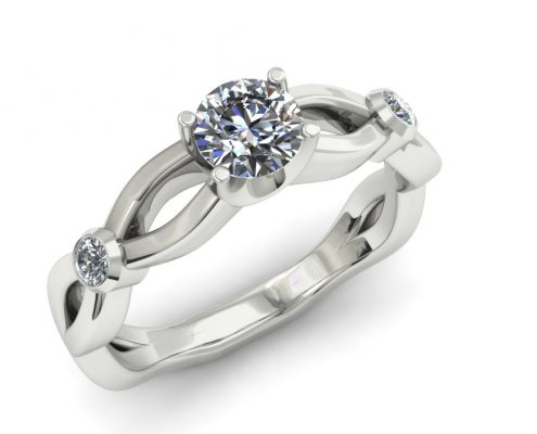 THREE STONE TWISTING CUSTOM ENGAGEMENT RING