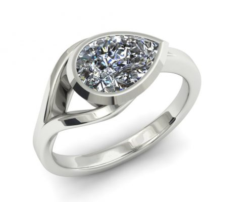 PEAR SHAPED SIDEWAYS CUSTOM ENGAGEMENT RING