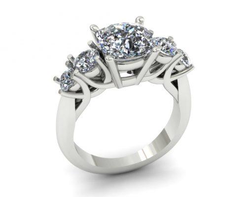 5 STONE DIAMOND CUSTOM ENGAGEMENT RING
