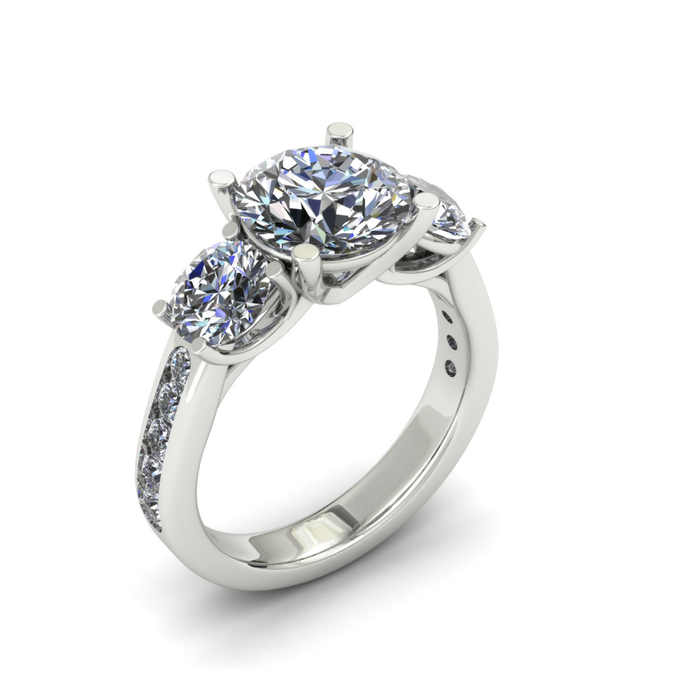 THREE STONE CUSTOM DIAMOND ENGAGEMENT RING