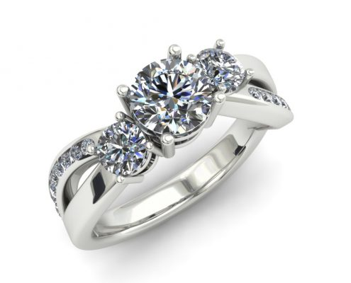 CRISSCROSS THREE STONE DIAMOND CUSTOM ENGAGEMENT RING