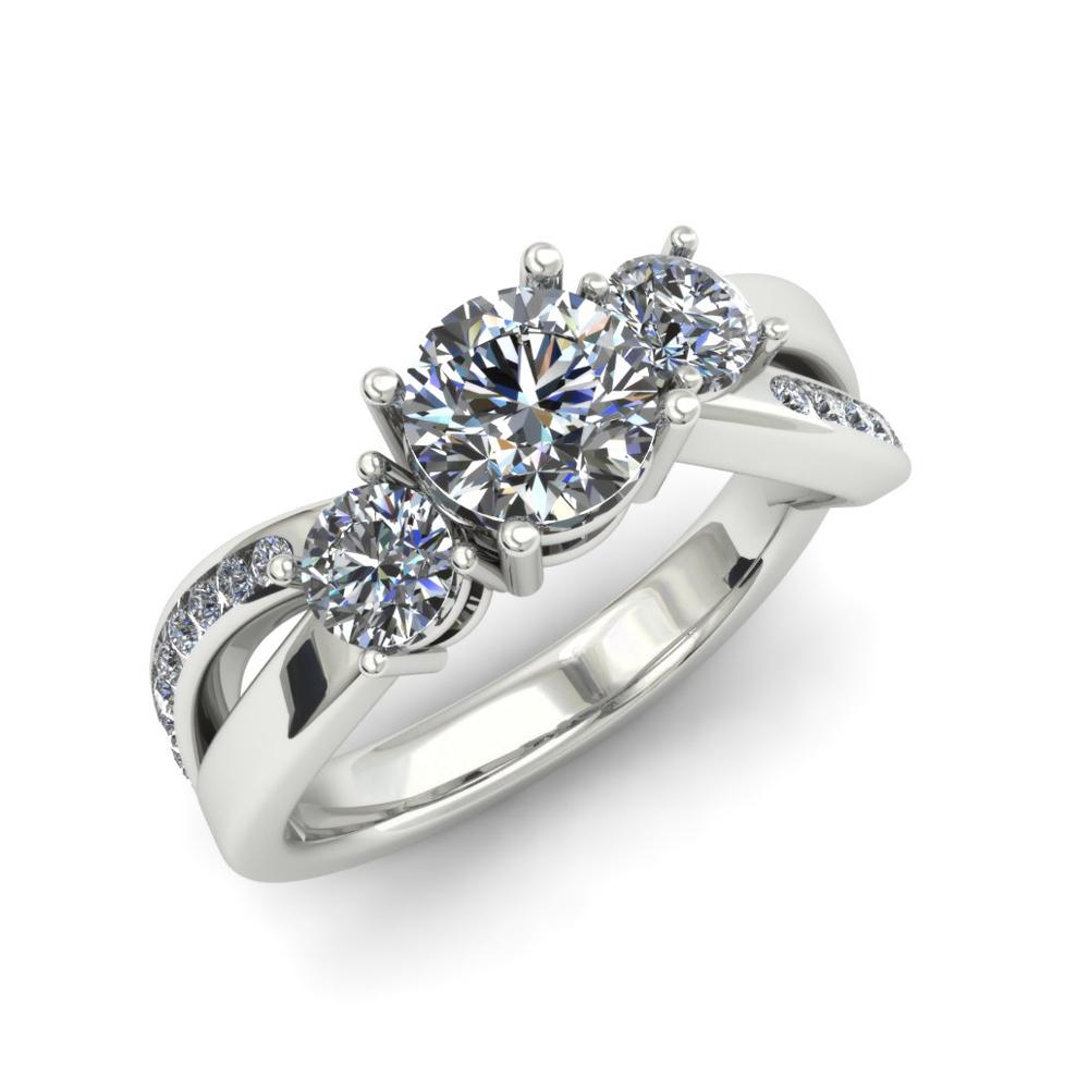 CRISSCROSS THREE STONE DIAMOND CUSTOM ENGAGEMENT RING
