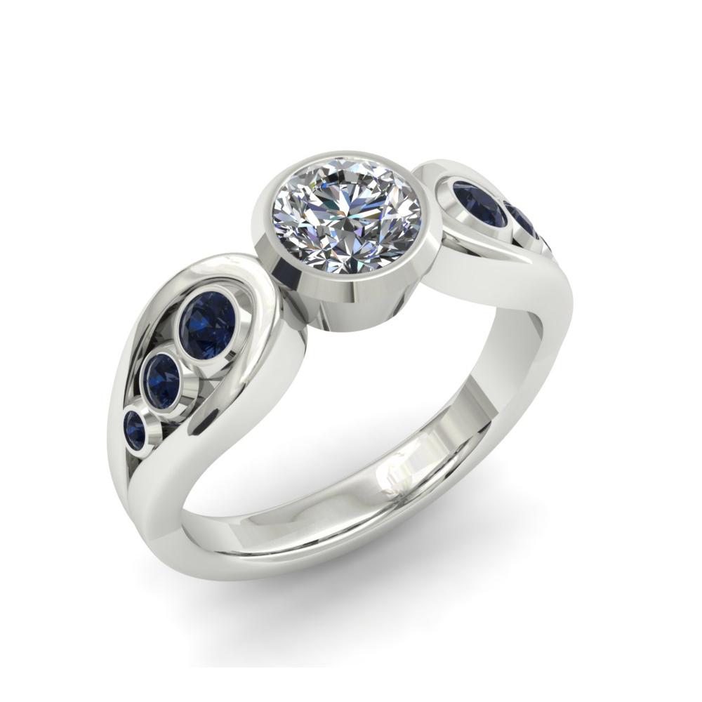 SAPPHIRE AND DIAMOND BEZEL ENGAGEMENT RING