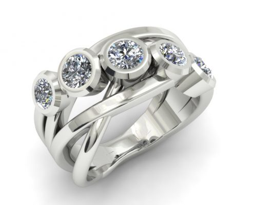 CRISSCROSS 5 STONE DIAMOND CUSTOM FASHION RING